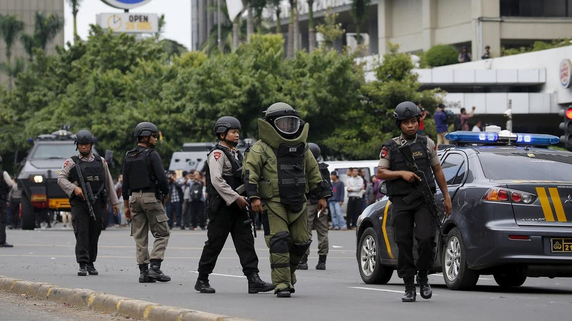 Militants launched a gun and bomb assault in the centre of the Indonesian capital on Thursday, killing at least six people. (Reuters)