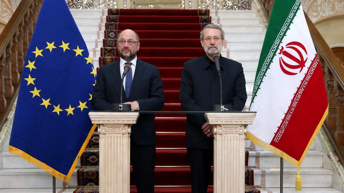 European Parliament President Martin Schulz, left, speaks during a press conference with Iran's Parliament speaker Ali Larijani after their meeting in Tehran, Iran, Saturday, Nov. 7, 2015. (AP