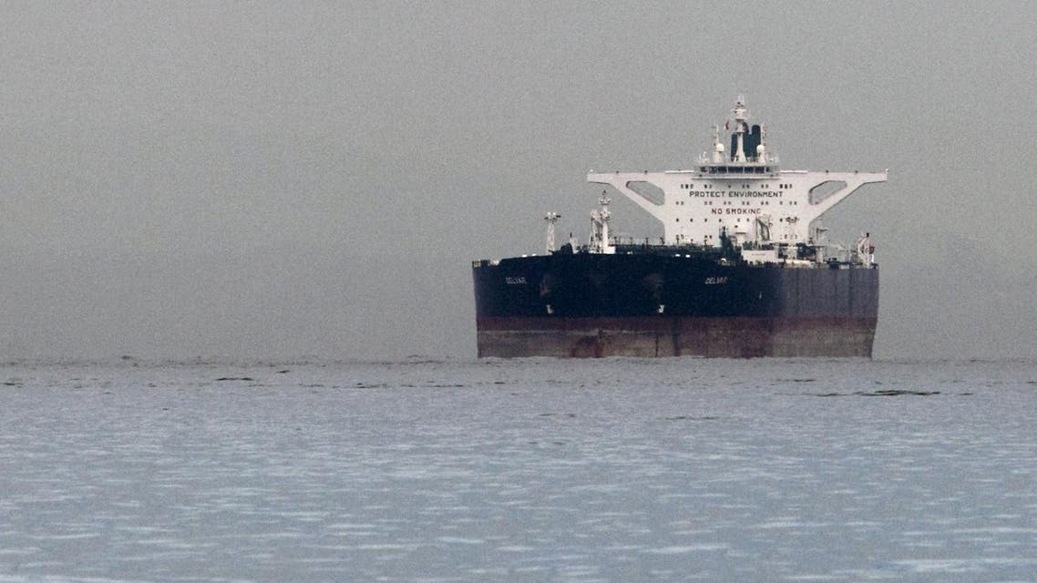 """Malta-flagged Iranian crude oil supertanker """"Delvar"""" is seen anchored off Singapore in this March 1, 2012 file photo. reuters"""