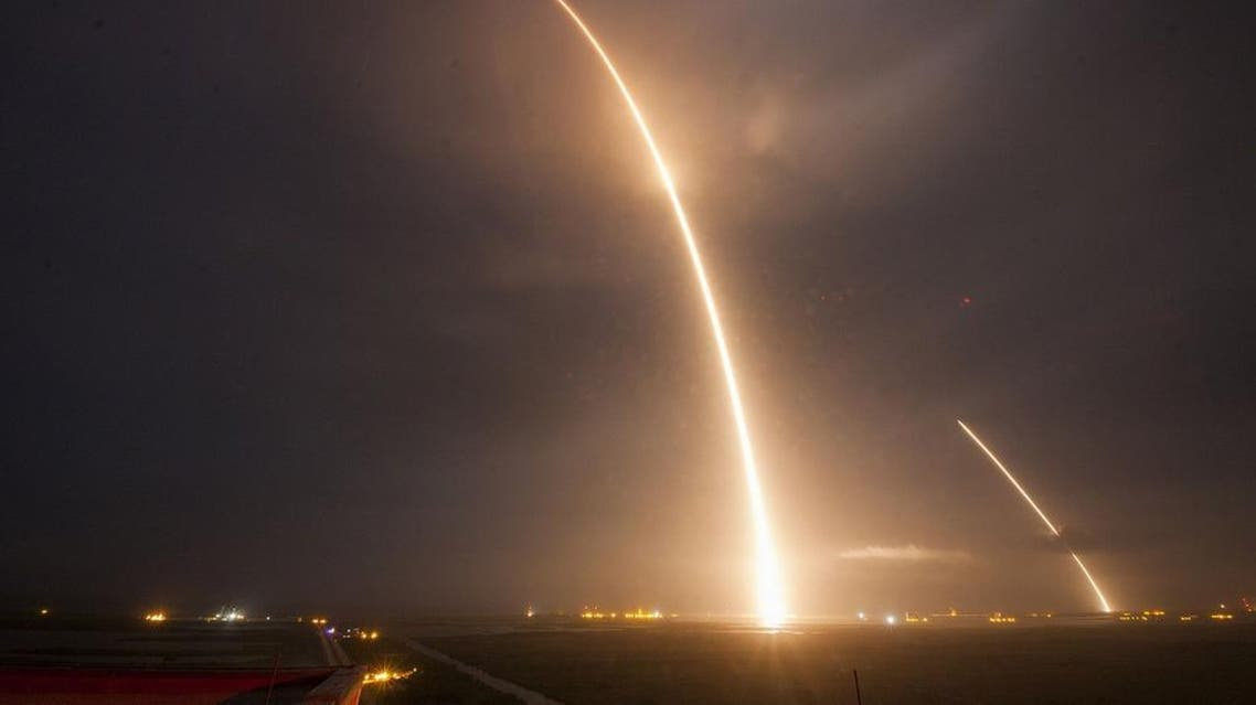 This 9-minute time exposure obtained courtesy of SpaceX shows the launch, re-entry, and landing burns of the SpaceX Falcon 9 rocket in December last year (AFP)