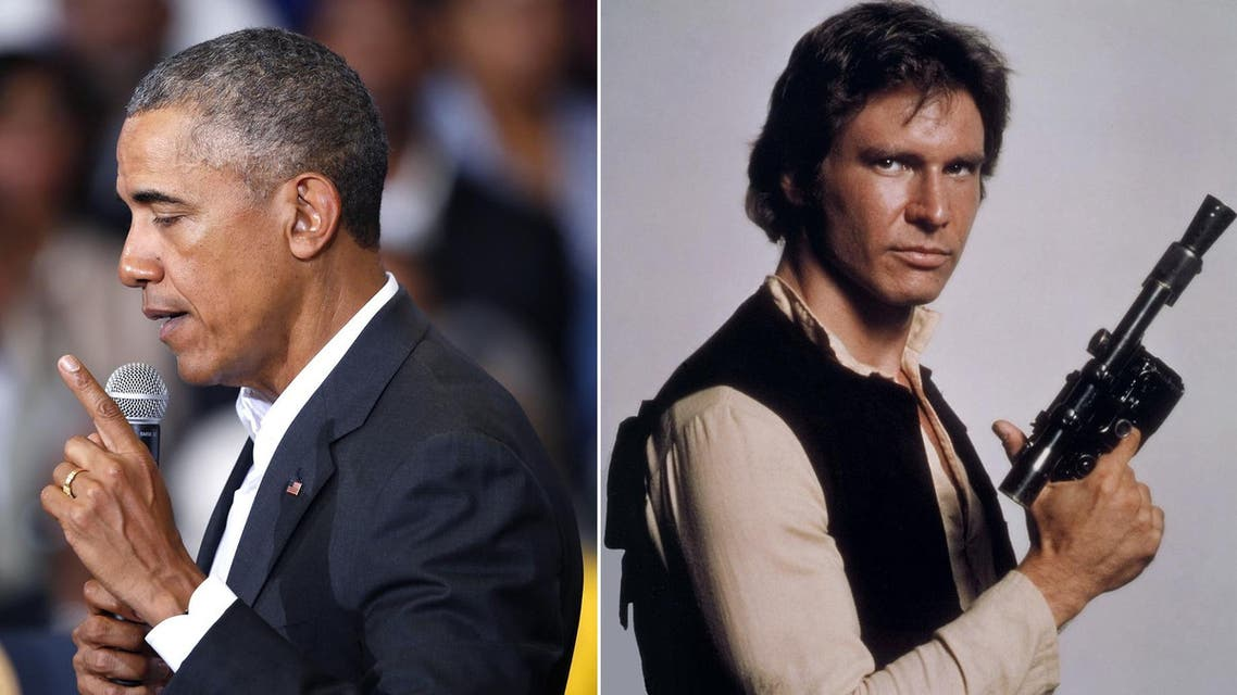 """If he had to be a character from """"Star Wars,"""" US President Barack Obama (L) would choose space pilot Han Solo (R) (Associated Press)"""