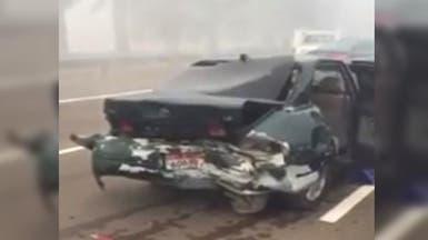فيديو.. تصادم 96 سيارة على طريق أبوظبي- العين