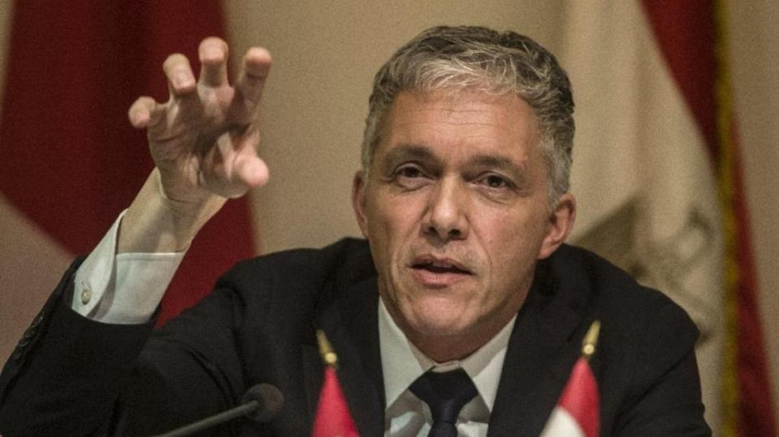 Swiss attorney Michael Lauber speaks during a press conference in the Egyptian capital Cairo on January 16, 2016 (AFP)