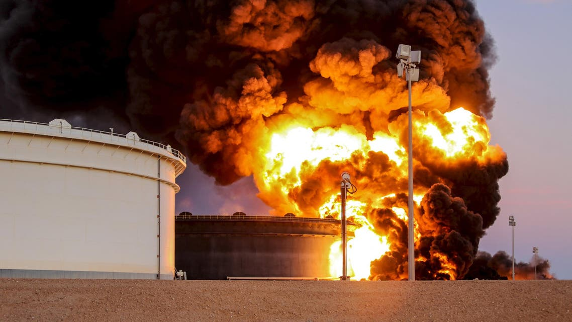 Fire rises from an oil tank in the port of Es Sider, in Ras Lanuf, Libya, January 4, 2016.  (Reuters)