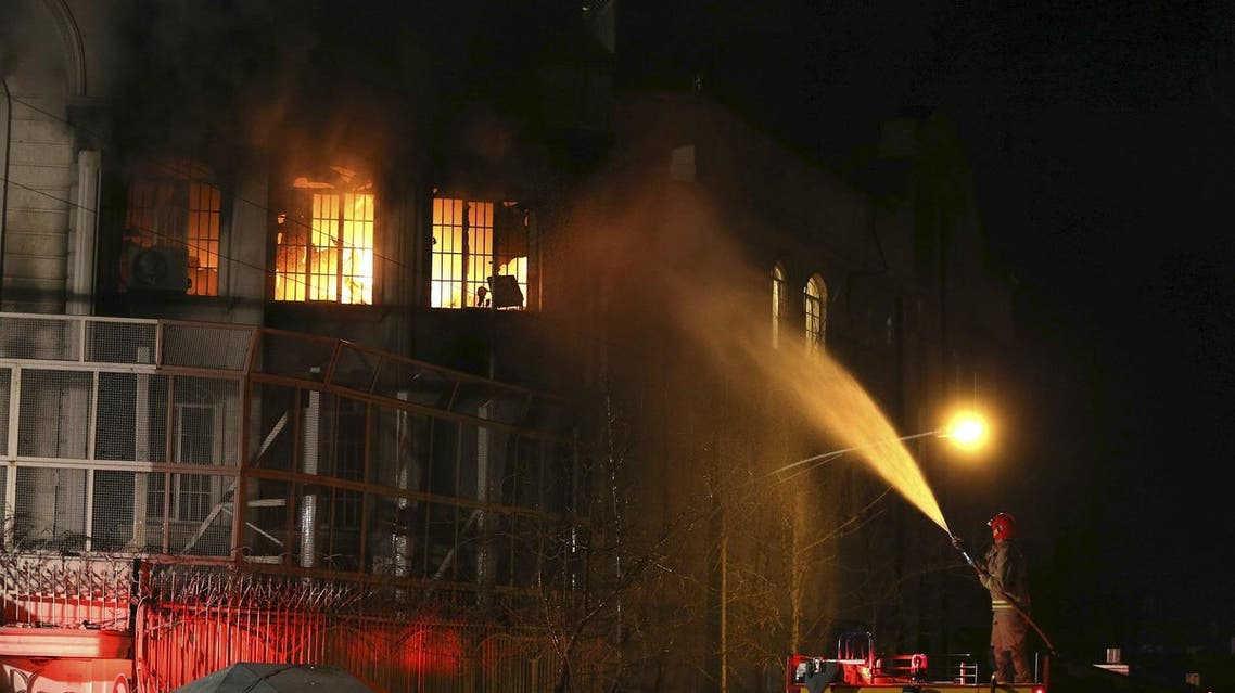Flames rise from Saudi Arabia's embassy during a demonstration in Tehran January 2, 2016. reuters