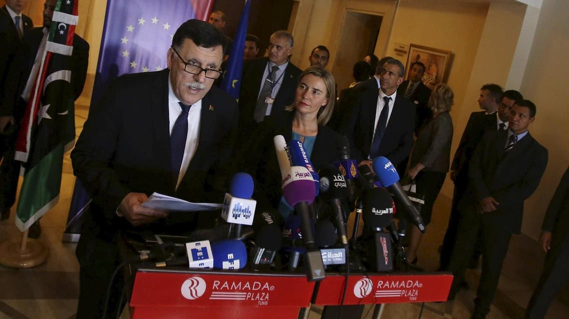 Libyan prime minister-designate under a proposed National Unity government Seraj speaks during a news conference with European Union foreign policy chief Mogherini in Tunis. (File photo: Reuters)