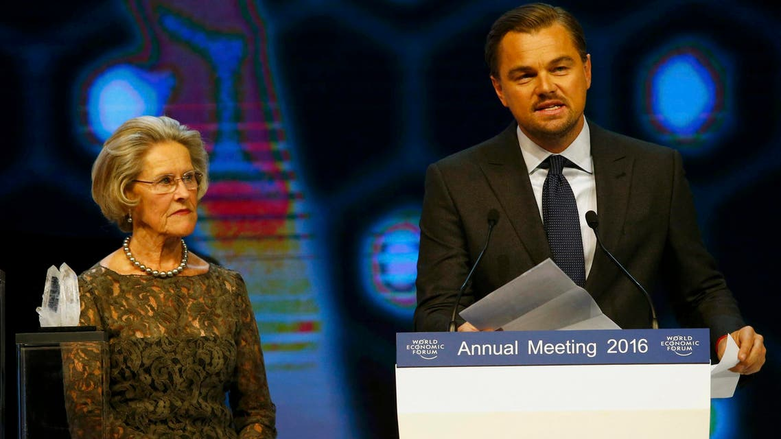 Actor DiCaprio delivers a speech after receiving a Crystal Award for his contribution to improve the state of the world from Schwab during the annual meeting of the WEF in Davos. (Reuters)