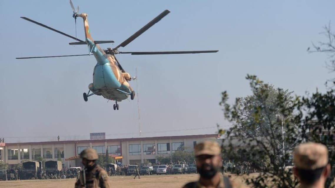An army helicopter arrives at Bacha Khan university in Charsadda, about 50 kilometres from Peshawar, northern Pakistan on January 20, 2016 following an attack by militants (AFP)
