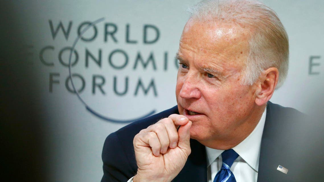 """U.S. Vice President Biden addresses the session """"Cancer Moonshot: A Call to Action"""" during the annual meeting 2016 of the WEF in Davos. (Reuters)"""
