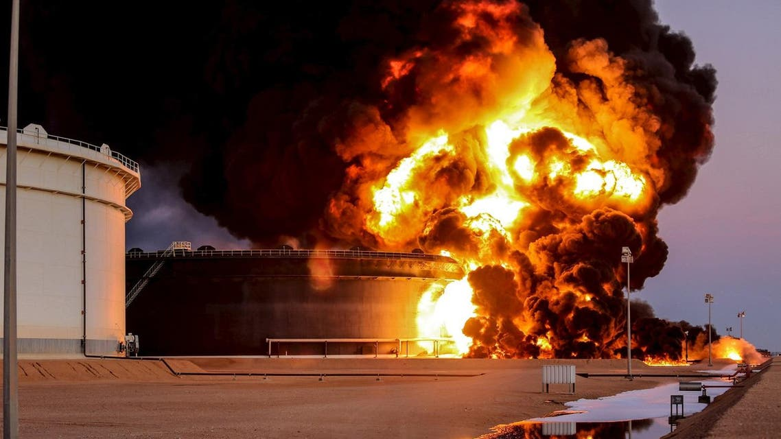 File picture shows fire rising from an oil tank in the port of Es Sider, in Ras Lanuf, Libya. (Reuters)