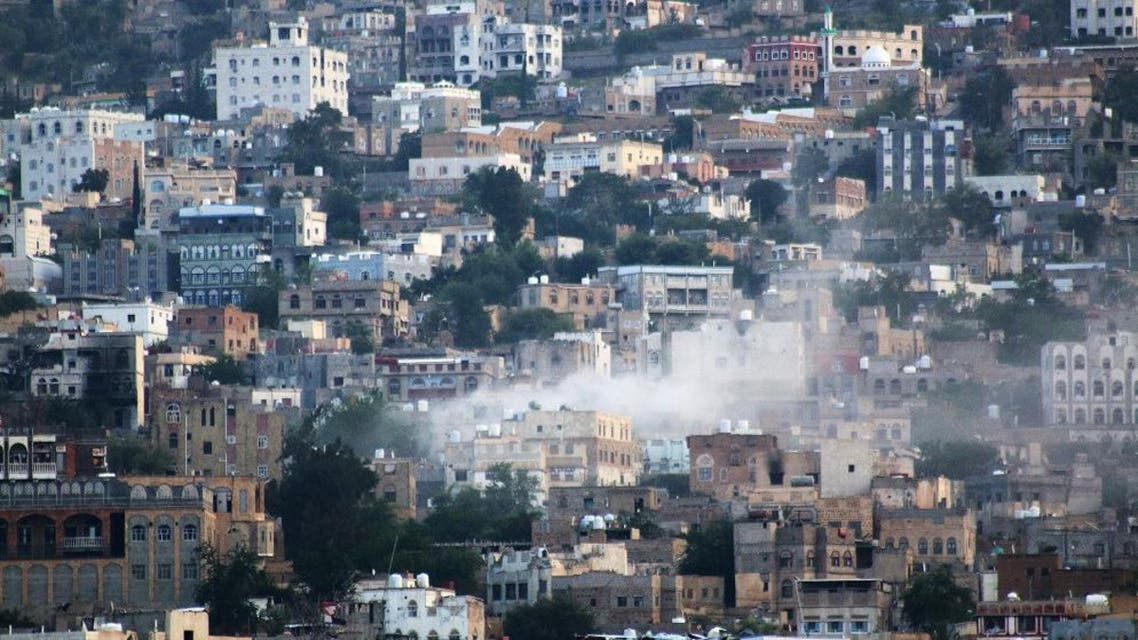 Smoke leaps the air from mortars and rockets fired by Shiite rebels known as Houthis during clashes with tribal fighters, in Taiz, Yemen, Wednesday, Oct. 21, 2015. Shiite Houthi rebels fired mortars and rockets into the central city of Taiz on Wednesday, killing at least 17 civilians and wounding over 70, including women, children, and the elderly, officials said. (AP Photo/Abdulnasser Alseddik)