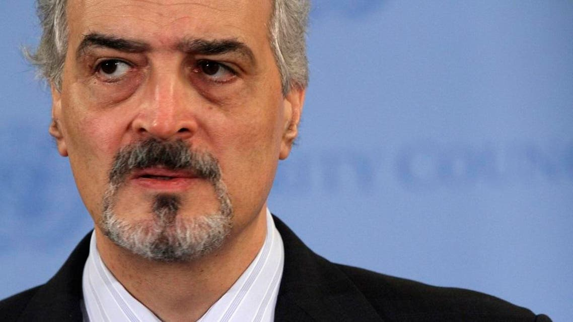 Syrian Ambassador to the United Nations Bashar Al-Jaafari speaks to reporters after a Security Council meeting on the situation in Syria, Tuesday, June 19, 2012 at United Nations headquarters. (AP Photo/Mary Altaffer)