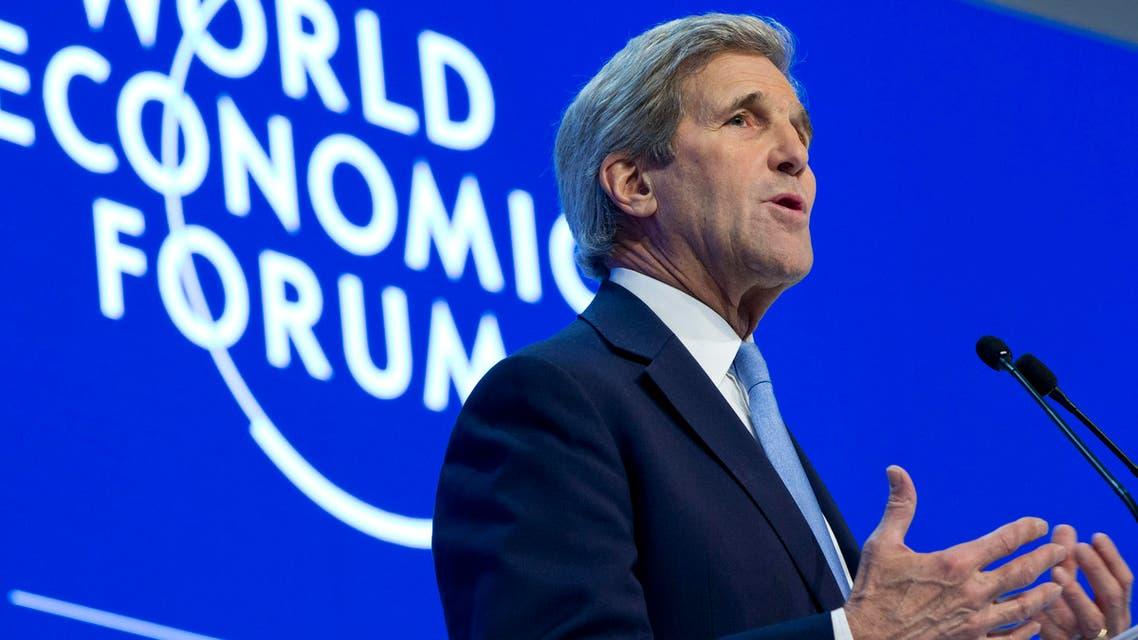 U.S. Secretary of State John Kerry speaks to the 2016 World Economic Forum in Davos, Switzerland, on Friday, Jan. 22, 2016. (AP)