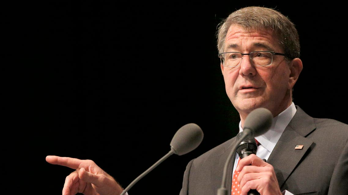 U.S Defense Secretary Ashton Carter delivers a speech during a conference in Paris, Thursday, Jan 21, 2016. Carter said Wednesday that defense ministers from France and five other nations have agreed to intensify the campaign against Islamic State group in Iraq and Syria, and that the coalition will work together to fill the military requirements as the fight unfolds over the coming months. (AP Photo/Christophe Ena)