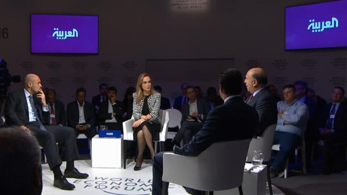 l Arabiya News' Nadine Hani moderates the session at the World Economic Forum in Davos, Switzerland. (Al Arabiya News)