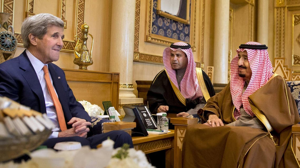 U.S. Secretary of State John Kerry (L) meets with Saudi King Salman bin Abdulaziz at the King's farm, on the outskirts of Riyadh, Saudi Arabia, January 23, 2016. (Reuters)