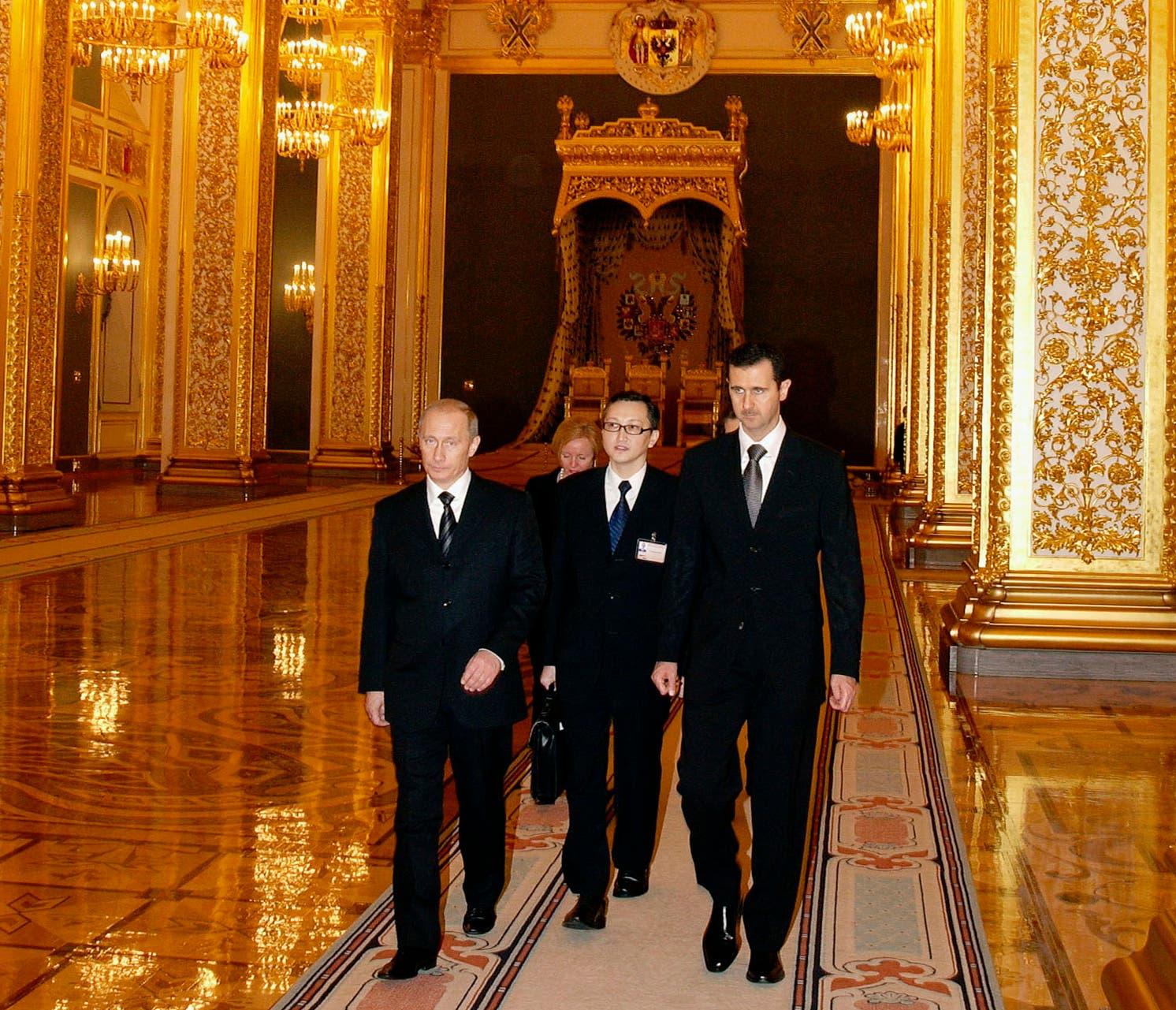 فلاديمير بوتين يستقبل بشار الأسد بموسكو