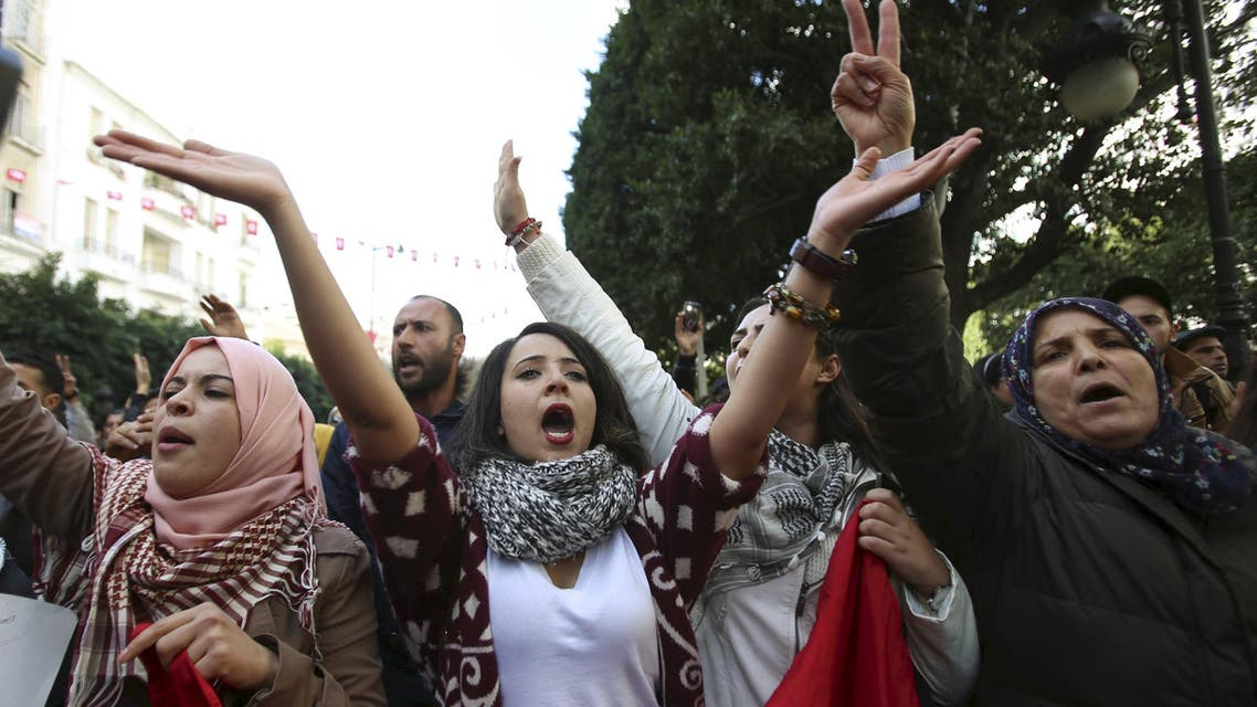 Unemployed graduates shout slogans during a demonstration to demand the government provide them with job opportunities, on Habib Bourguiba Avenue in Tunis, Tunisia January 20, 2016. reuters