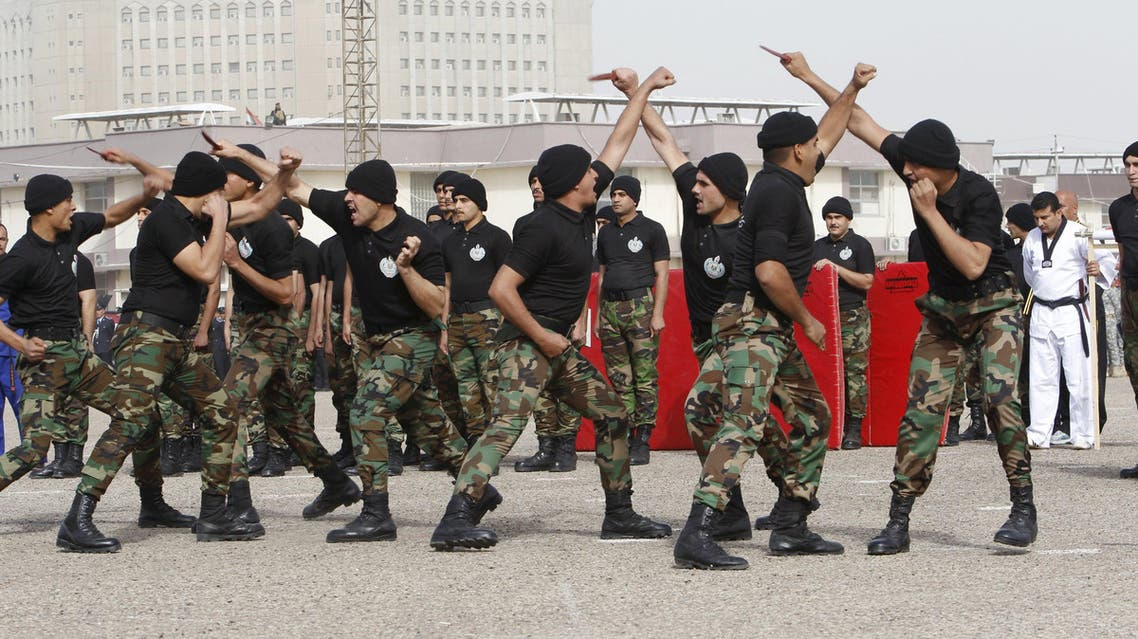 Troops of the Interior Ministry take part in a parade during a ceremony marking the Iraqi Police Day at a police academy in Baghdad January 9, 2016.  reuters