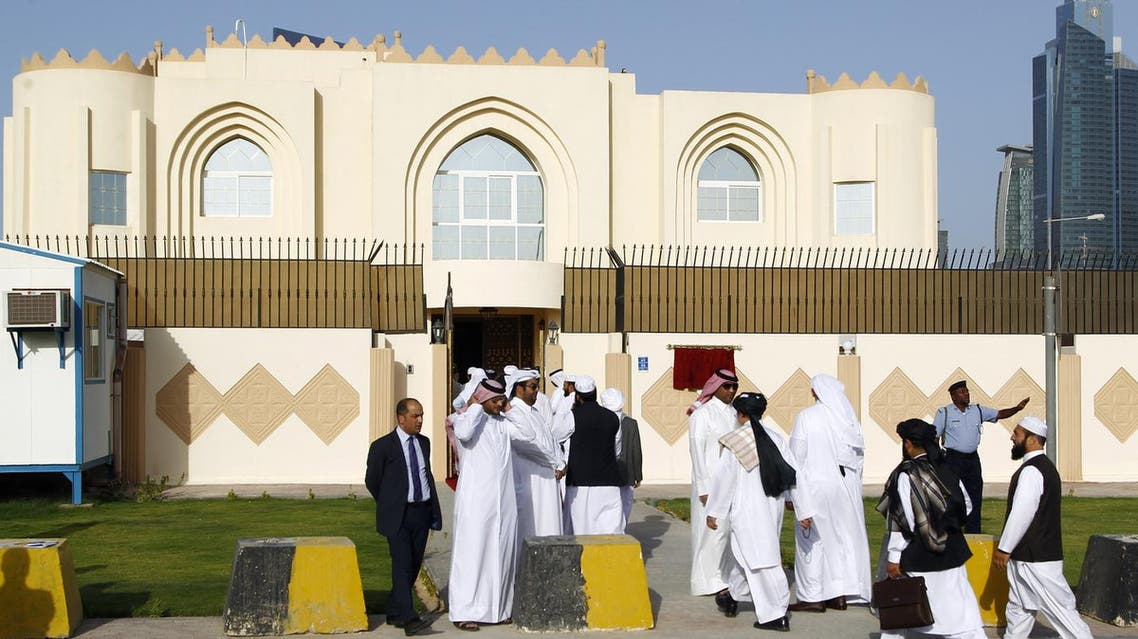 Guests arrive for the opening ceremony of the Taliban political office in Doha on June 18, 2013. (AFP)
