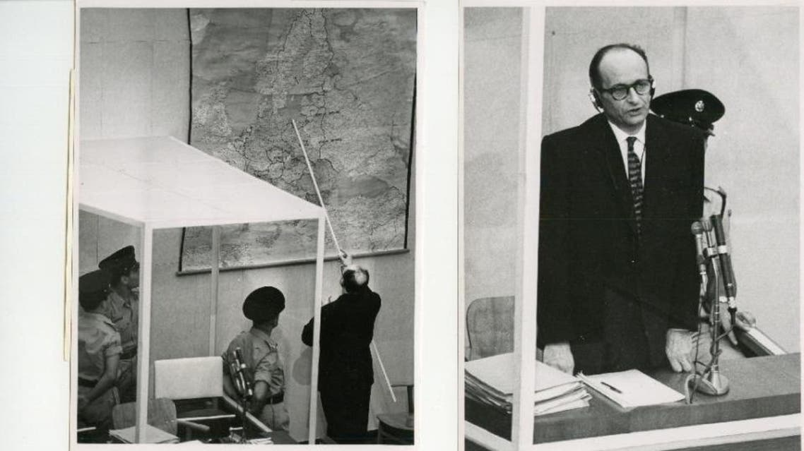 Nazi war criminal Adolf Eichmann shows on a map the locations of the extermination camps in Nazi-occupied Eastern Europe, during the first day of his 1961 trial in an Israeli court in Jerusalem (AFP Photo)