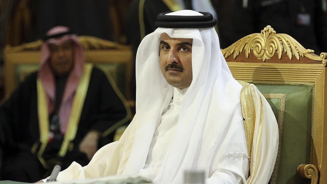 Qatar Emir Sheik Tamim bin Hamad Al-Thani, center, attends the closing session of the 36th Gulf Cooperation Council Summit in Riyadh, Saudi Arabia, Thursday, Dec. 10, 2015. (AP)