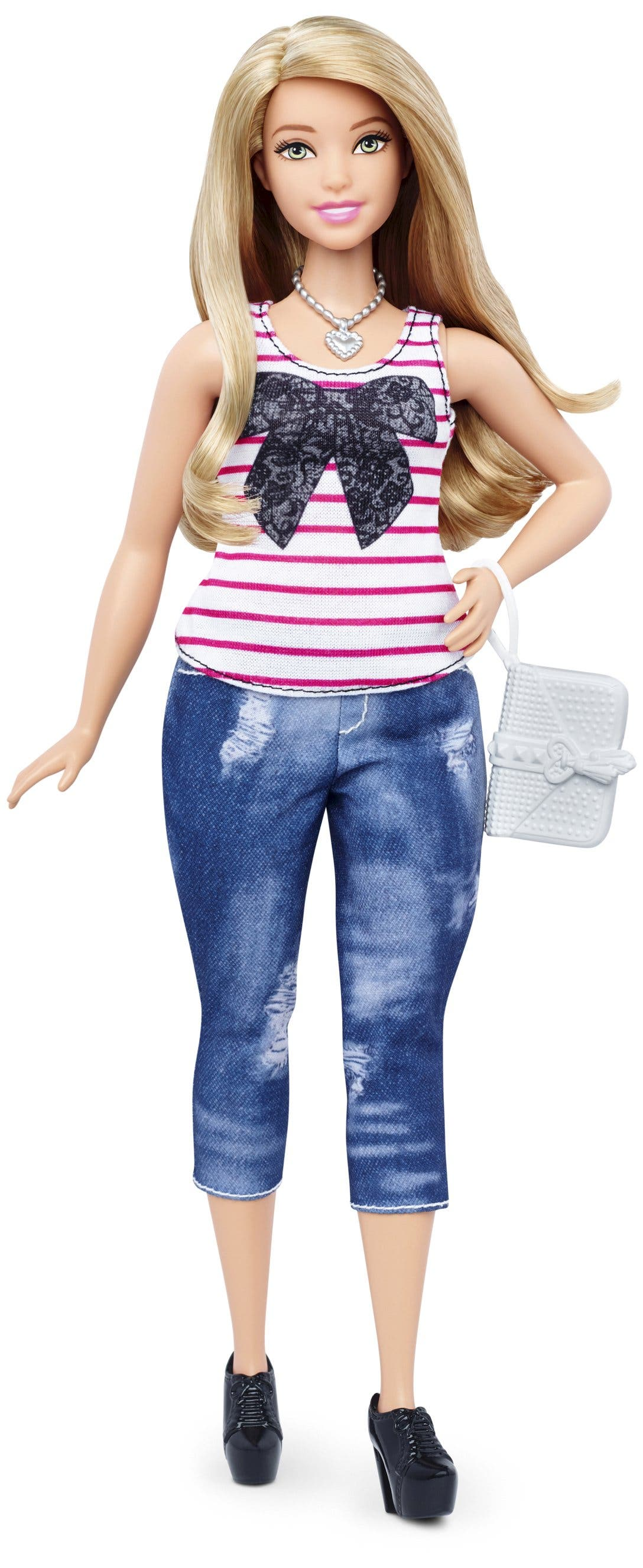 An example of the new curvy Barbie doll body shape is seen in a image released by Mattel on January 28, 2016. Barbie, the world's most famous doll, has a new body. In fact, she has three new bodies - petite, tall and curvy. Some 57 years after the impossibly busty and narrow-waisted blue-eyed Barbie doll was first introduced, California-based toy maker Mattel on Thursday released the new models, which it says better reflect a changing world. REUTERS/Mattel/Handout via Reuters ATTENTION EDITORS - THIS PICTURE WAS PROVIDED BY A THIRD PARTY. REUTERS IS UNABLE TO INDEPENDENTLY VERIFY THE AUTHENTICITY, CONTENT, LOCATION OR DATE OF THIS IMAGE. FOR EDITORIAL USE ONLY. NOT FOR SALE FOR MARKETING OR ADVERTISING CAMPAIGNS. THIS PICTURE IS DISTRIBUTED EXACTLY AS RECEIVED BY REUTERS, AS A SERVICE TO CLIENTS. NO SALES. NO RESALES. NO ARCHIVE.