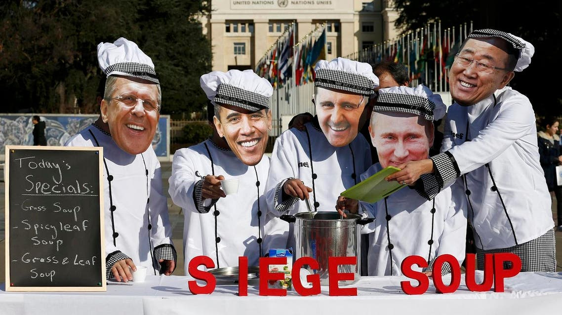 Activists of Planet Syria wearing masks depicting some of the world leaders Lavrov, Obama, al-Assad, Putin and Ban serve a siege soup outside the U.N. in Geneva. (Reuters)