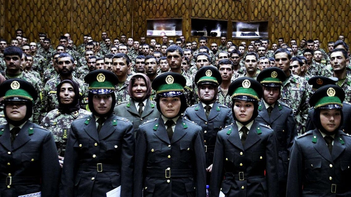 Afghan military officers stand attention during their graduation ceremony at the Kabul Military Training Center in Kabul, Afghanistan. (File photo: AP)