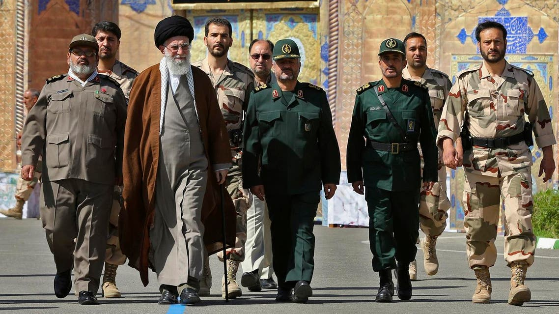Supreme Leader Ayatollah Ali Khamenei, second left, attends a graduation ceremony of Revolutionary Guard officers in Tehran, Iran. (File photo: AP)