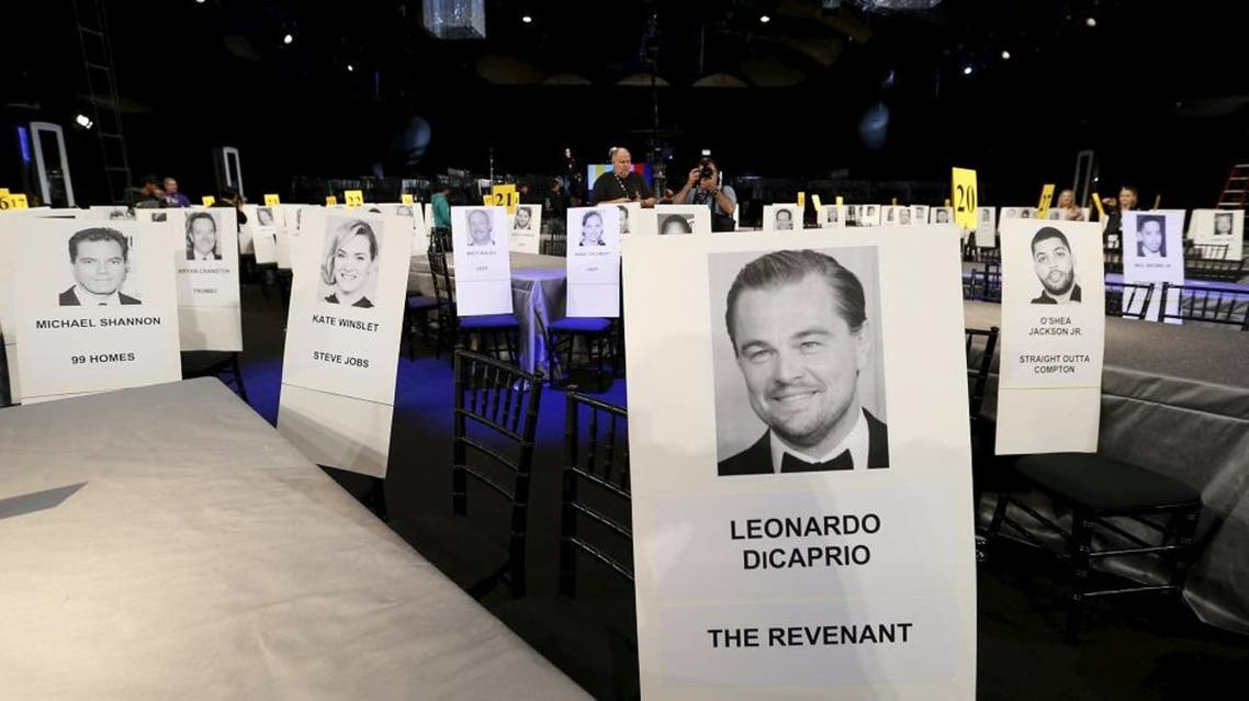 Seating placards are pictured during preparations for the 22nd annual Screen Actors Guild Awards at the Shrine Auditorium in Los Angeles, California January 29, 2016. The Awards will be given out in Los Angeles on January 30 (Reuters)