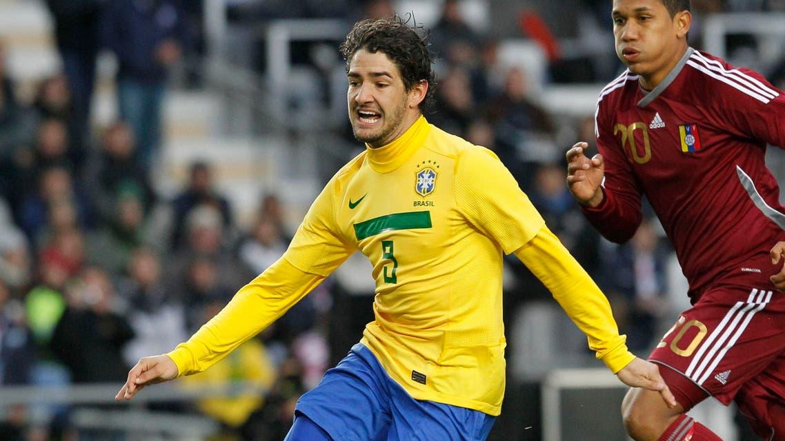 Brazil's Alexandre Pato during a Copa America soccer match in La Plata, Argentina, Sunday, July 3, 2011. (AP
