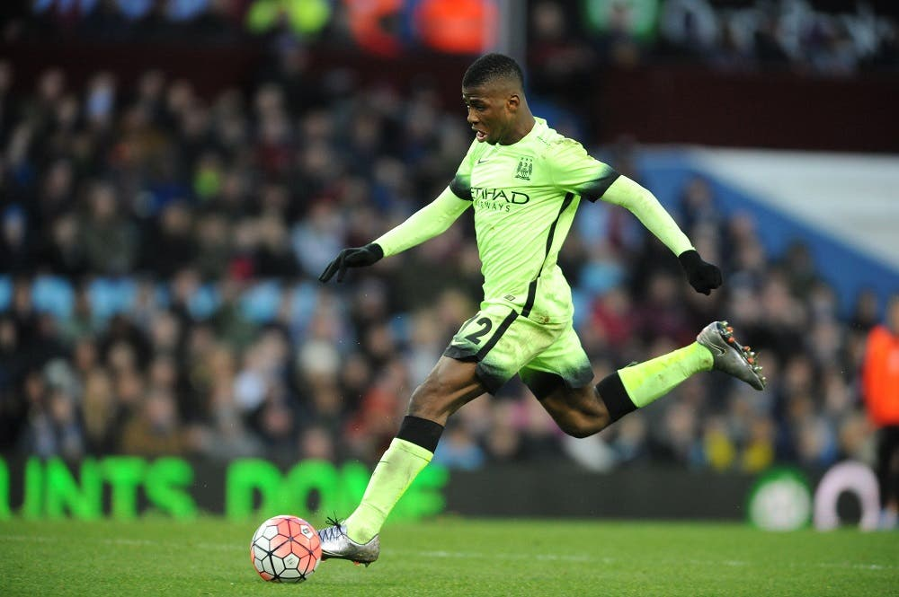 Manchester City's Kelechi Iheanacho scores his hat-trick against Villa during the English FA Cup fourth round soccer match between Aston Villa and Manchester City at Villa Park in Birmingham, England, Saturday, Jan. 30, 2016. (AP Photo/Rui Vieira)