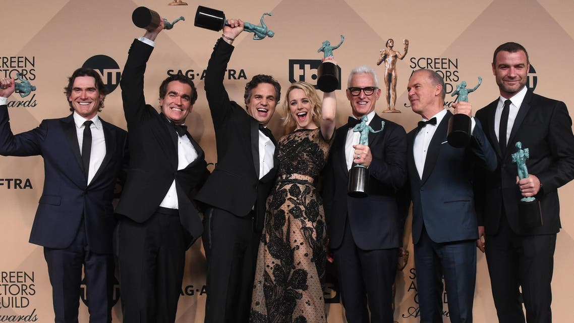 "The cast of ""Spotlight"" poses in the press room with the Actor for Outstanding Performance by a Cast in a Motion Picture at the 22nd Annual Screen Actors Guild Awards at The Shrine Auditorium on January 30, 2016 in Los Angeles, California. AFP"