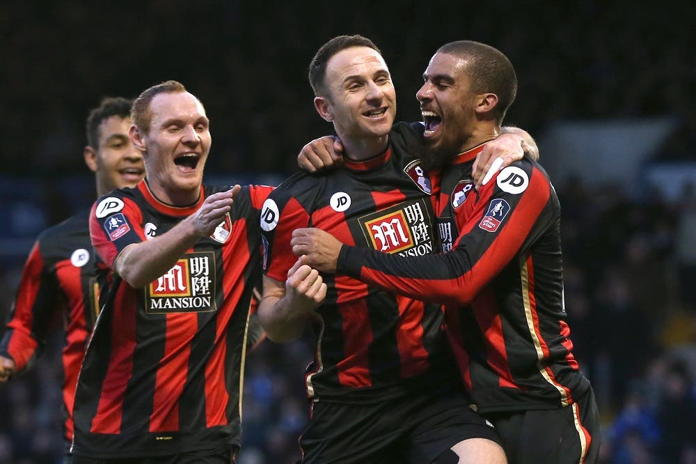 Marc Pugh celebrates with teammates after scoring the second goal for Bournemouth Action Images via Reuters / Alex Morton Livepic