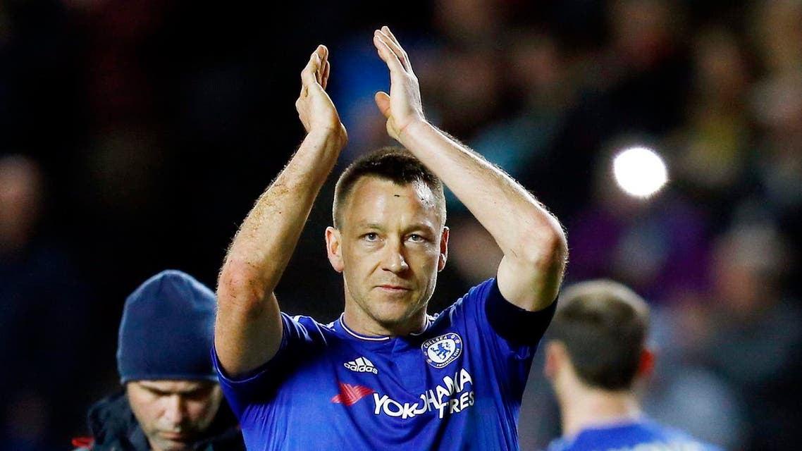 Chelsea's John Terry applauds the fans at the end of the game Reuters