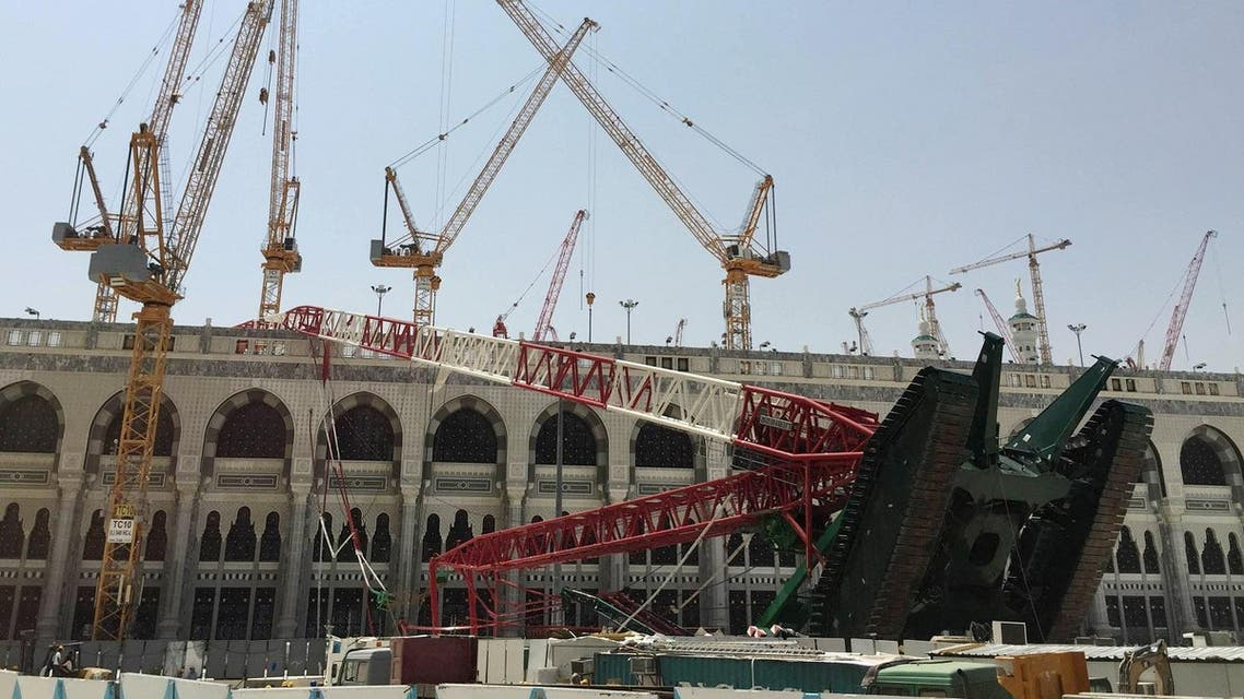 A construction crane which crashed in the Grand Mosque is pictured in the Muslim holy city of Mecca, Saudi Arabia. (Reuters)