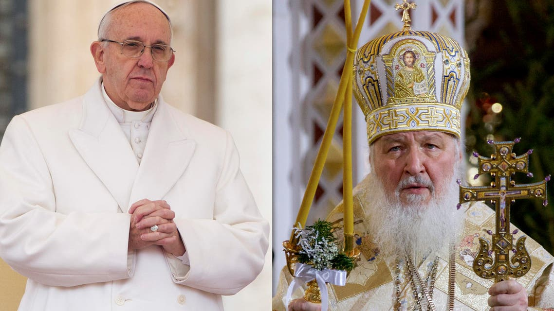 In this file photo combination Russian Orthodox Patriarch Kirill, right, serves the Christmas Mass in the Christ the Savior Cathedral in Moscow, Russia and Pope Francis prays during an audience at the Vatican (AP)