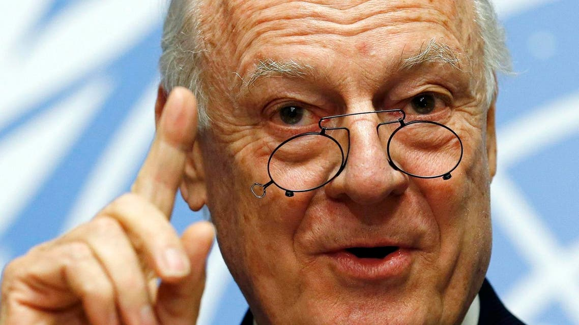 U.N. mediator for Syria de Mistura gestures during a news conference at the United Nations in Geneva. (Reuters)