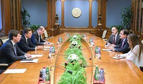 اجتماع رياض حداد برئيس شركة غاز بروم الروسية