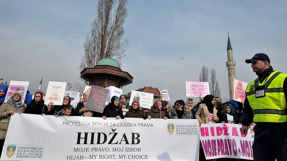Hundreds of Muslim women wearing the traditional Muslim headscarf also known as hijab protest in Sarajevo's historical center, on February 7, 2016. AFP
