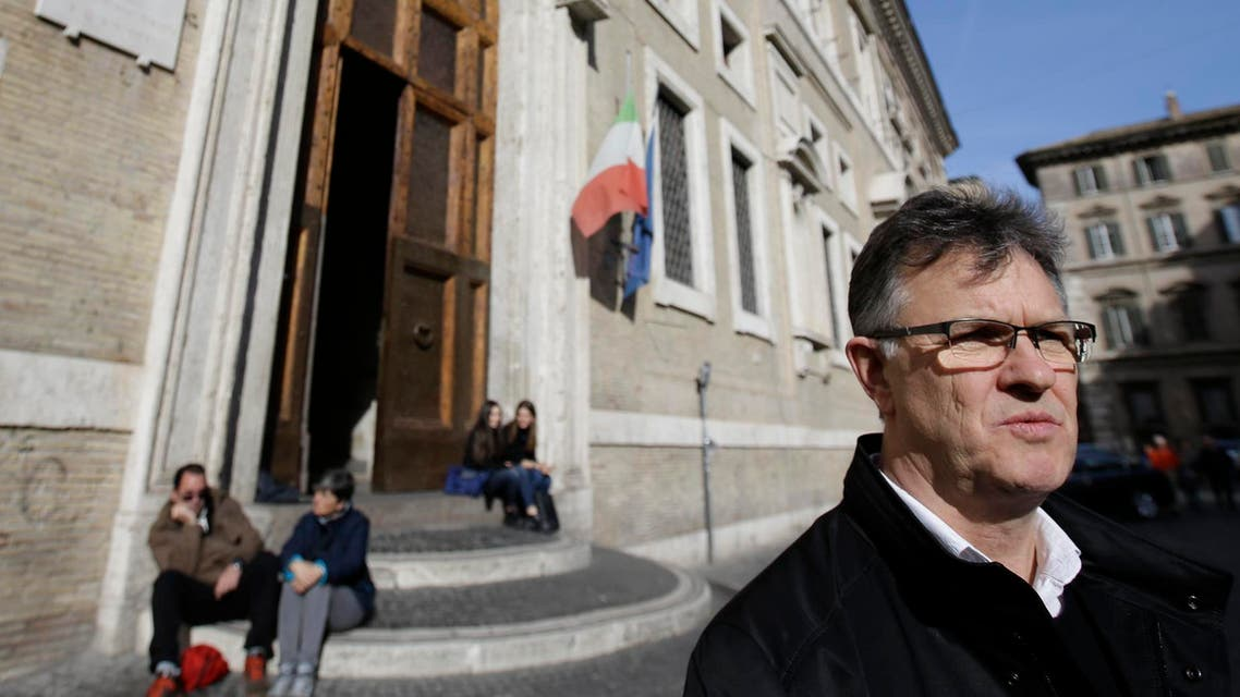 Peter Saunders, a British advocate for survivors, talks during an interview with the Associated Press in Rome, Saturday, Feb. 6, 2016.