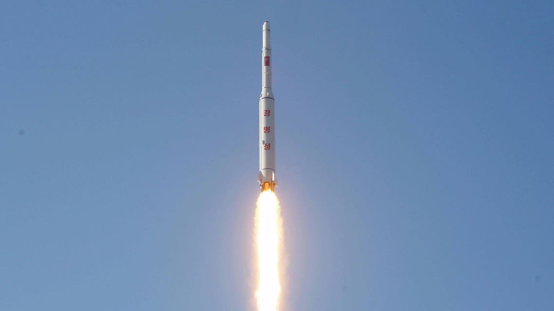 A North Korean long-range rocket is launched into the air at the Sohae rocket launch site in this undated photo released by North Korea's Korean Central News Agency (KCNA) in Pyongyang February 7, 2016. REUTERS/KCNA ATTENTION EDITORS - THIS PICTURE WAS PROVIDED BY A THIRD PARTY. REUTERS IS UNABLE TO INDEPENDENTLY VERIFY THE AUTHENTICITY, CONTENT, LOCATION OR DATE OF THIS IMAGE. FOR EDITORIAL USE ONLY. NOT FOR SALE FOR MARKETING OR ADVERTISING CAMPAIGNS. THIS PICTURE IS DISTRIBUTED EXACTLY AS RECEIVED BY REUTERS, AS A SERVICE TO CLIENTS. NO THIRD PARTY SALES. SOUTH KOREA OUT. NO COMMERCIAL OR EDITORIAL SALES IN SOUTH KOREA