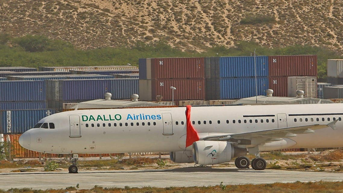 An aircraft belonging to Daallo Airlines is parked at the Aden Abdulle international airport after making an emergency landing following an explosion inside the plane in Somalia's capital Mogadishu, February 3, 2016. REUTERS