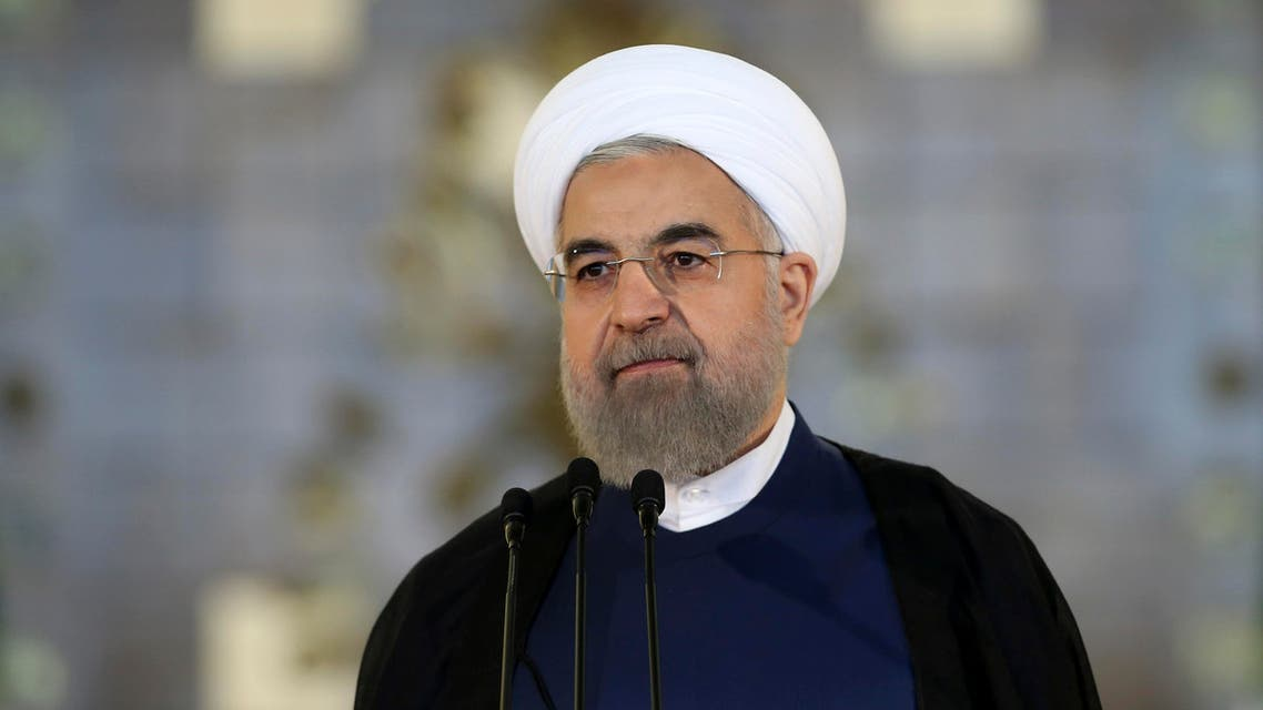 Iran's President Hassan Rouhani addresses the nation in a televised speech after a nuclear agreement was announced in Vienna, in Tehran, Iran, Tuesday, July 14, 2015. AP