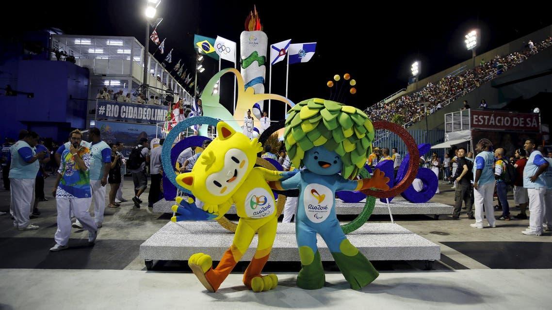 Olympic mascots are seen at the Sambadrome in Rio de Janeiro's Sambadrome February 7, 2016. Reuters