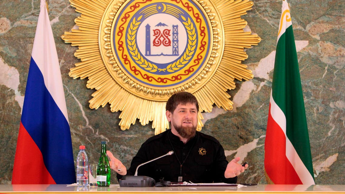 In this photo taken on Monday, Dec. 28, 2015, Chechen regional leader Ramzan Kadyrov speaks to journalists in Chechnya's provincial capital Grozny, Russia.