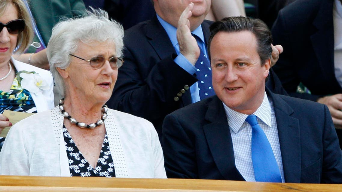 Britain's Prime Minister David Cameron, front right, and his mother Mary