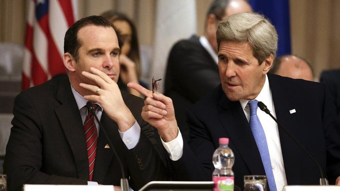 U.S. Secretary of State John Kerry (R) talks with U.S. envoy to the coalition against Islamic State, Brett McGurk during a ministerial meeting regarding the Islamic State group in Rome, Italy, February 2, 2016 (Reuter)