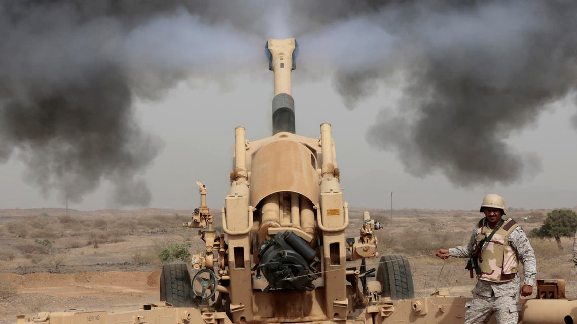 In this April 20, 2015 file photo, Saudi soldiers fire artillery toward three armed vehicles approaching the Saudi border with Yemen in Jazan, Saudi Arabia. (AP)